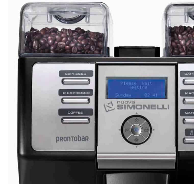 nuova simonelli prontobar lcd screen and dual hopper