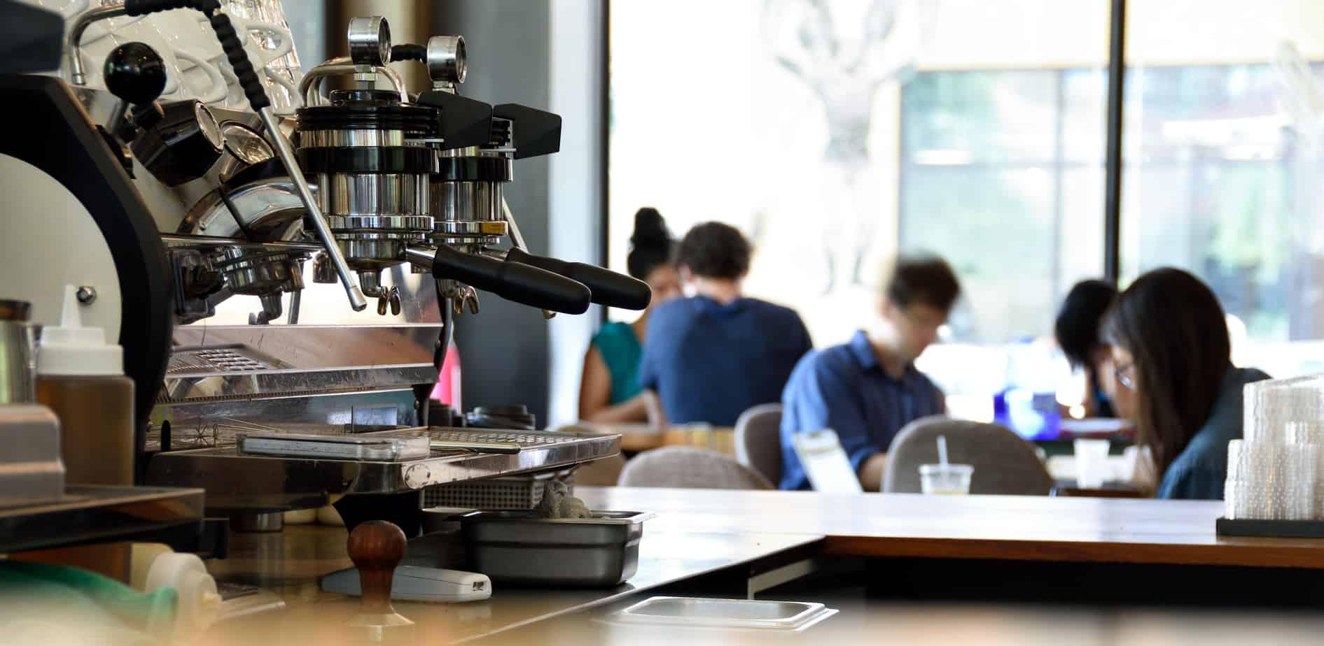 Espresso Machine in a Busy Small Coffee Shop