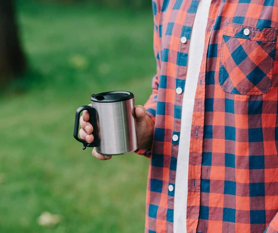 stainless steel travel mug for hot coffee